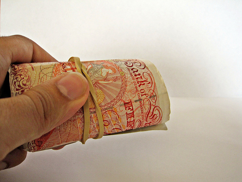 Roll of 50 pound notes