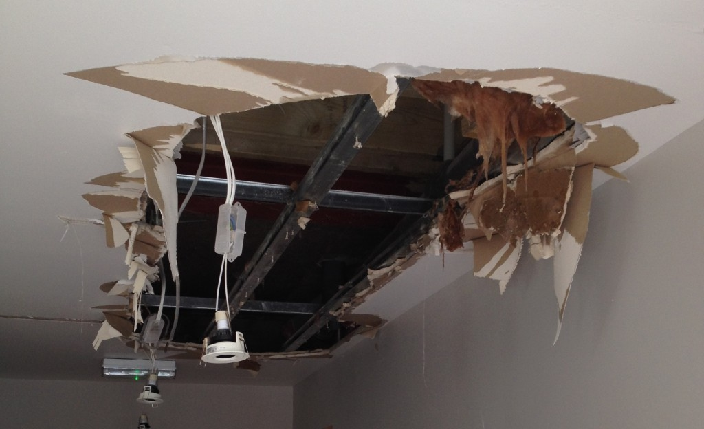 Ceiling ruined by bad plumbing