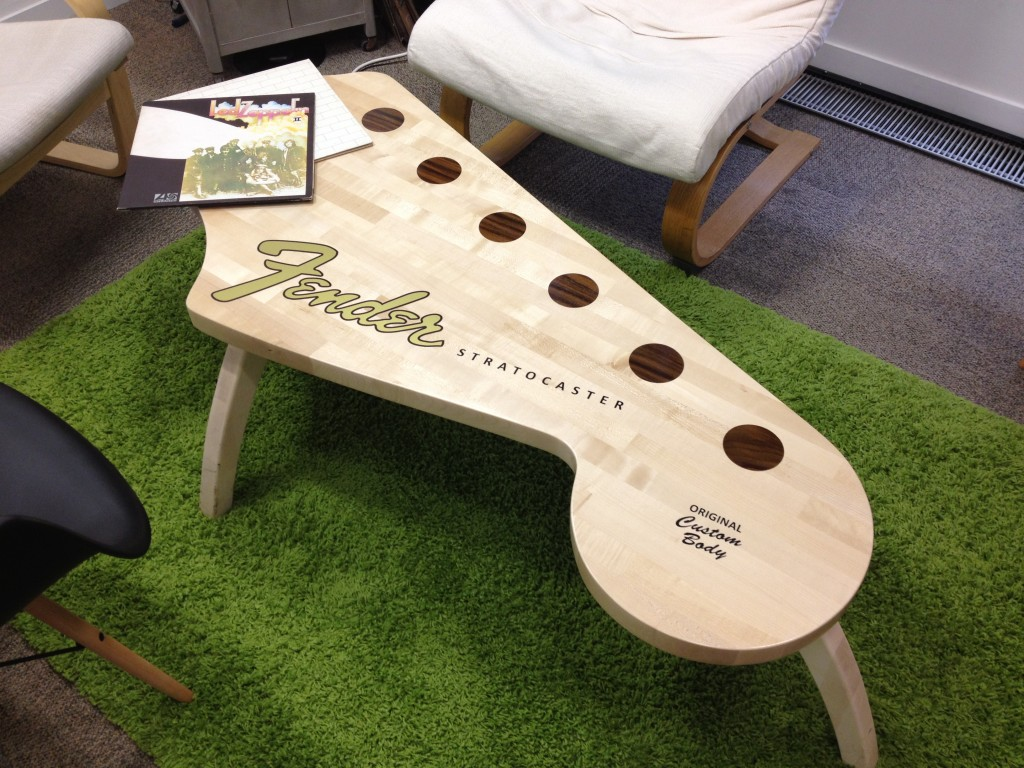 how we built our fender strat coffee table. Black Bedroom Furniture Sets. Home Design Ideas